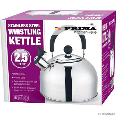 Whistling Kettle 2.5 Litre Stainless Steel Stove Top • 14£