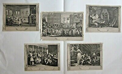 1806 5 X Hogarth Prints Engravings Industrious Idle 'Prentice Cook Ed. Antique • 125£