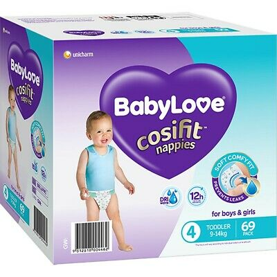 AU27 • Buy BabyLove Cosifit Jumbo Nappies 9-14kg Toddler 69 Pack