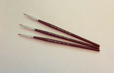 £3.89 • Buy 3 X Size 000 Extra Fine Synthetic Sable Modelling Paint Brushes Model Making