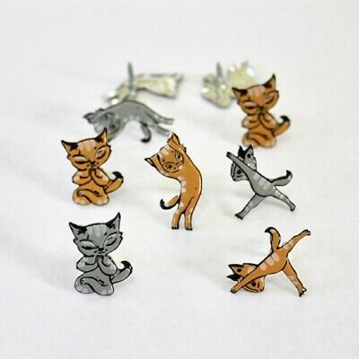 $3.45 • Buy YOGA CATS Brads Package Of 12 By Eyelet Outlet Kitten Cat Animal Pet