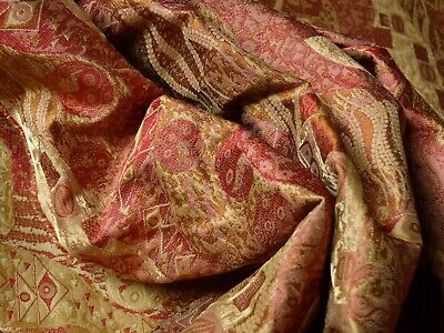 $ CDN100.54 • Buy BY YARD KLIMT In 100%SILK LAMPAS! ART DECO  440 MULBERRY  RED PINK GOLD