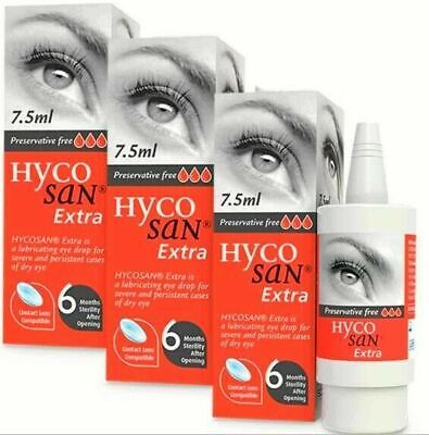 SALE 3 X Dry Eye Drops Hycosan Extra Preservative Free RECOMMENDED BY OPTICIANS  • 25.99£