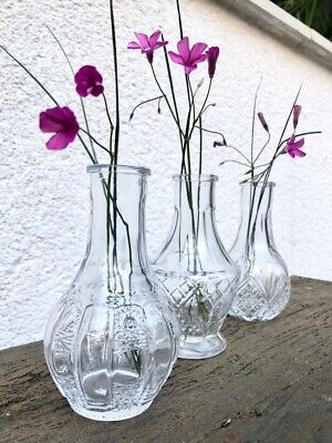 Set Of 3 Small Clear Glass Bottles Vintage Style Ribbed Bud Vase Wedding Table • 9.99£