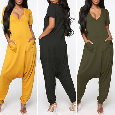 ZANZEA UK Women Baggy Harem Jumpsuit Short Sleeve Romper V-Neck Playsuit Pockets • 13.29£