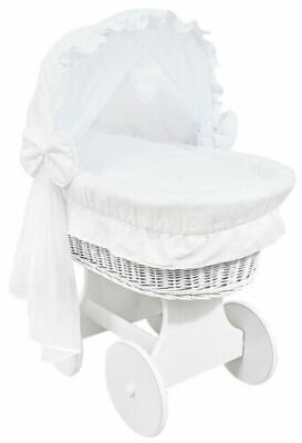 £149.99 • Buy WHITE WICKER WHEELS CRIB/BABY MOSES BASKET + COMPLETE BEDDING White/Cotton