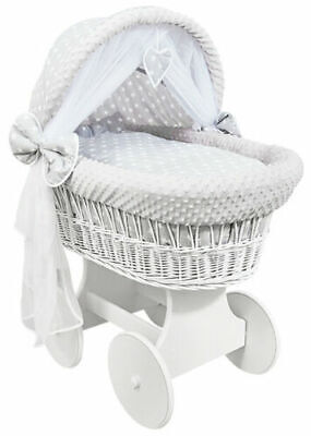 £149.99 • Buy WHITE WICKER WHEELS CRIB/BABY MOSES BASKET+ BEDDING White Stars On Grey/Dimple