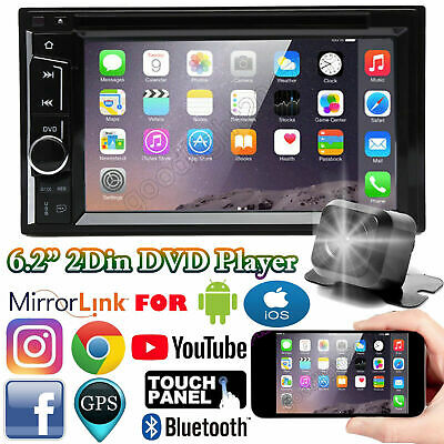 $162.10 • Buy 6.2  Car Stereo Bluetooth Radio Double 2Din DVD Player+Camera Mirrorlink For GPS
