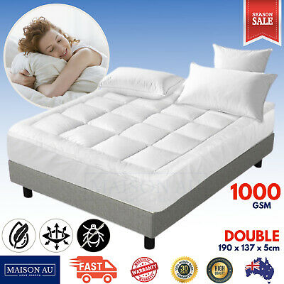 AU70.60 • Buy Double Bed Pillowtop Mattress Topper 1000GSM Bamboo 5cm Thick Plush Protector