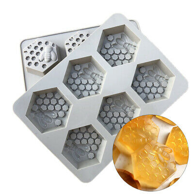 Bee Mould Honey 6 Silicone Baking Resin Mould Wax Beeswax Candle Cake Mold 3D • 5.59£