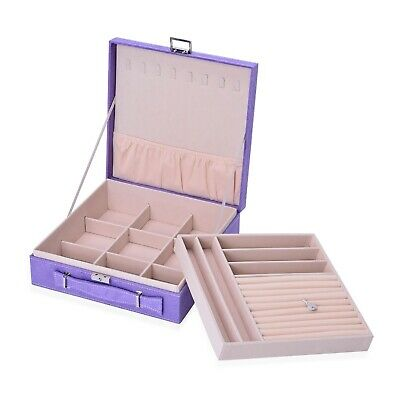 Lilac Faux Velvet Briefcase Style 2-Tier Jewelry Organizer Box Anti-Tarnish • 21.60£