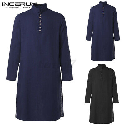 Men's Kurta T-shirt Tunic Formal Muslim Formal Dress Knee Length Kaftan Tunic UK • 13.68£