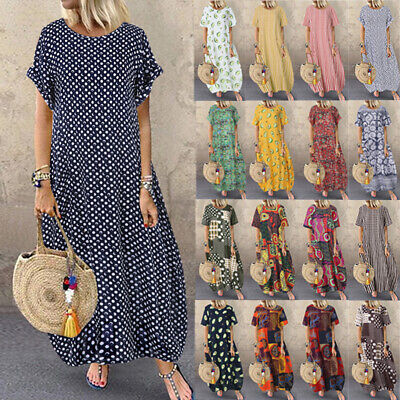 ZANZEA Women Summer Floral Polka Dot Short Sleeve Loose Casual Kaftan Long Dress • 9.49£