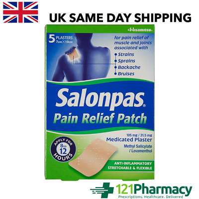 SALONPAS Pain Relief Patch - 5 Plasters LARGEST MEDICATED 8-12 Hours RELIEF • 7.19£