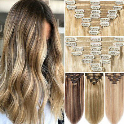 Russian Thick 170G Double Weft Clip In Remy Human Hair Extensions Full Head MJ06 • 48.15£