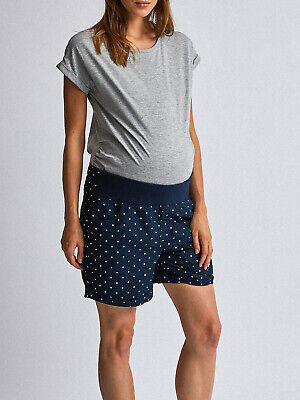 Dotty P's Navy Spotted Under Bump Cotton Maternity Safari Shorts Size 6 - 22 New • 12.50£