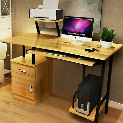AU159.99 • Buy High Gloss Deluxe Computer Desk Workstation Drawers Shelves Home Office Study