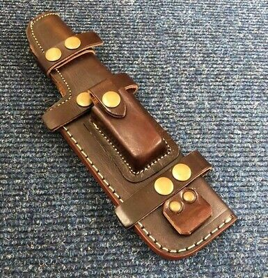 26CM Well Stitched Multi Carry Knife Bushcraft Tracker Brown Leather Sheath • 12.50£