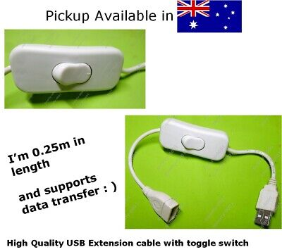 AU5.38 • Buy USB A Female To USB A Male Toggle Switch / Extension Data Transfer Cable White