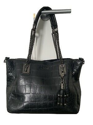 PINKO Black Bag, Croc Print, Crossbody/handbag, Detachable Keyring Charm • 79£