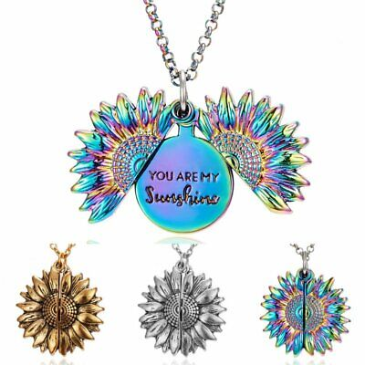You Are My Sunshine Open Sunflower Pendant Necklace Personality Jewellery Gifts • 2.41£
