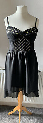 Stunning Size 16 Black Floaty High Low Dress With Gold Stud Embellishment • 12.99£