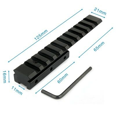 3/8  11mm To Picatinny 7/8  20mm Rail Adapter Extend Dovetail Scope Mount 125mm • 12.08£