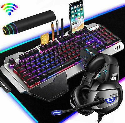 AU91.90 • Buy 4in1 Gaming Combo Wireless Gameing Keyboard Mouse+Headset+RGB Mousepad For PS4