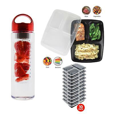10 Meal Prep Containers 700ML Gym Bottle 3 Compartment Portion Control Food Box • 10.89£