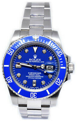 $ CDN16235.27 • Buy Rolex Submariner Stainless Steel Blue Ceramic Diamond Dial Mens Watch 116610