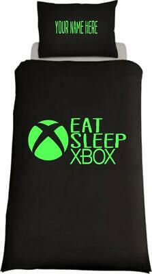 Personalised EAT SLEEP XBOX Inspired Single Bed Duvet Cover Gaming Ps4  • 22.99£