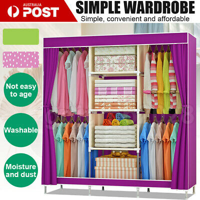 AU36.79 • Buy Portable Clothes Closet Canvas Wardrobe Storage Organiser Kids Rack Garment