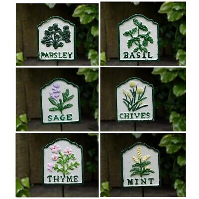 £19.99 • Buy Set Of 6 Cast Iron Metal Garden Herb Markers Stakes Signs Home Garden Allotment