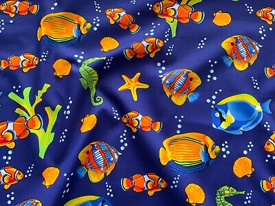 Fish Barrier Reef Fabric 100% Cotton Material   Navy  Clown Fish Marine • 3.50£