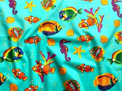 Clown Fish Barrier Reef Fabric 100% Cotton Material   Jade Marine Fish Seahorse  • 2.50£