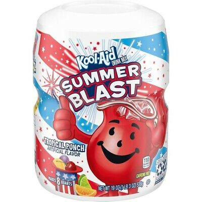 New Kool-aid Summer Blast Tropical Punch Flavored Drink Mix 19 Oz Makes 8 Quarts • 10.34£