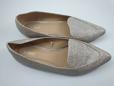 Papaya Size 5 (38) Tan Faux Leather Gold / Silver Sparkly Pumps Ballet Flats • 12£