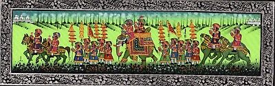 $44.99 • Buy Hand Painted Royal Procession Art Of Maharajah Indian Miniature Painting On Silk
