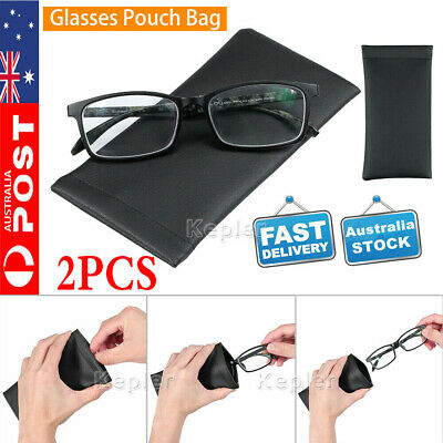 AU4.99 • Buy 2PC Faux Leather Sunglass Eyeglass Reading Glasses Case Soft Pouch Snap Shut Bag