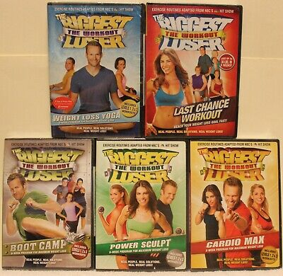 5 NEW The Biggest Loser Workout DVD Lot, Weight Loss Yoga Power Sculpt Boot Camp • 14.32£