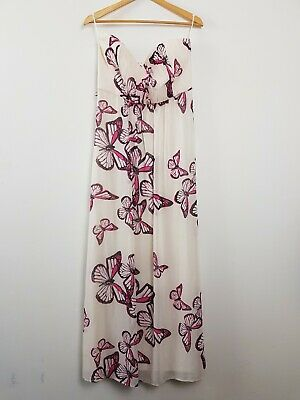 AU19 • Buy Jane Norman Strapless White Pink Butterfly Maxi Dress Women's 14 Party Event