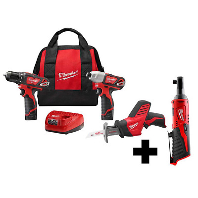 Cordless Drill Impact Driver Combo Kit Free M12 3/8 In. Ratchet 12-Volt (3-Tool) • 281.13£