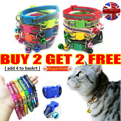 Safety Release Reflective Cat Kitten Collar Hi-Vis Adjustable Bell Anti-Choke UK • 3.69£