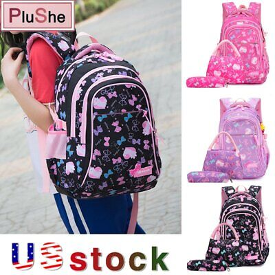 $24.99 • Buy 3PCS/Set Girls School Bags Sweet Princess Bow Prints Backpacks With Lunch Kits