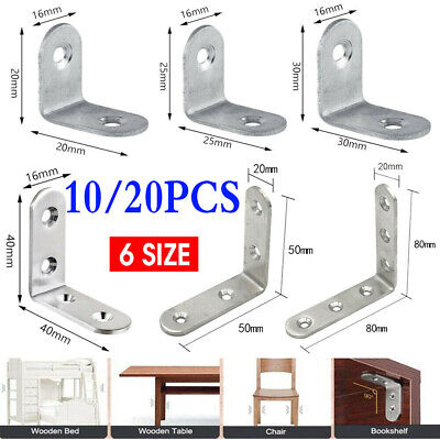 AU8.85 • Buy 10/20PC Stainless Steel Corner Brackets Angle Bracket Corner Brace Joint L Shape