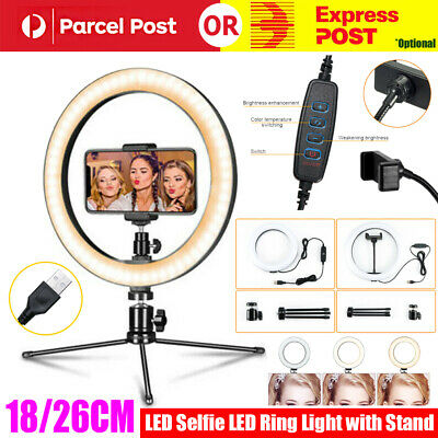AU25.99 • Buy 18/26cm LED Selfie Ring Light With Stand Tripod Dimmable For Photo Studio Phone