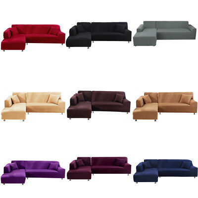 AU9.99 • Buy L Shape 1 2 3 4 Seater Stretch Sofa Covers Slipcover Corner Couch Cover Elastic