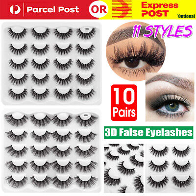 AU14.95 • Buy 10Pair 11Style 3D Mink Natural Thick False Eyelashes Eye Lashes Makeup Extension