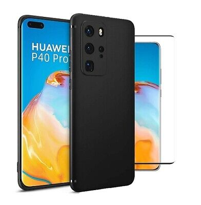 For Huawei P40 Pro Case Slim Gel Cover & Full Glass Screen Protector • 5.99£
