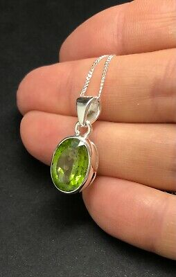 Natural Peridot Large Oval Pendant Necklace, Solid Sterling Silver, 13 X 9.5mm • 59.99£